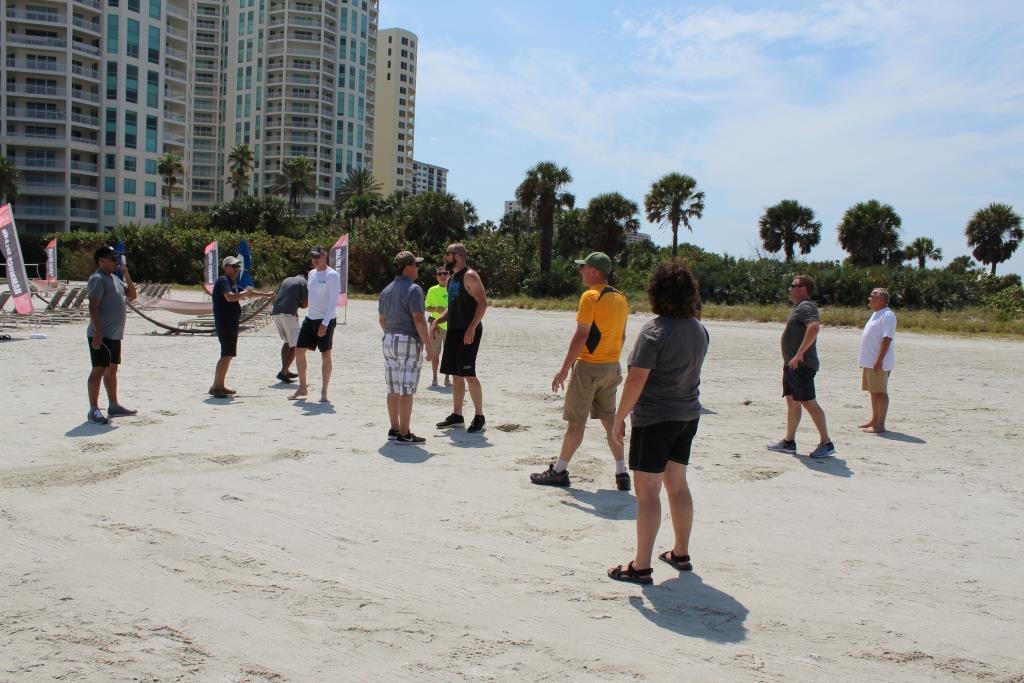 Thur beach games - football getting ready